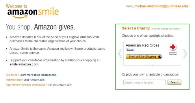 smile.amazon.com setup