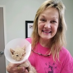 Peek-a-Boo with Terry after eye surgery 6-14-19